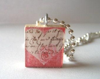 Pretty Heart Scrabble Tile Necklace