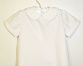 Handmade Holiday/Winter/Christmas/Wedding White Boys Peter Pan Collar Shirts Custom Options Short Sleeve