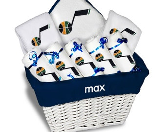 Personalized Utah Jazz Baby Gift Basket - 2 Bibs, 5 Burp Cloths, Towel Set - Large