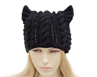 Cat ear hat ,winter knit hat for woman in black -  COLOR OPTION  AVAILABLE