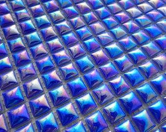 "Blue Iridescent Glass Tiles - 5/8"" - Domed Top 25 Mosaic Tiles"
