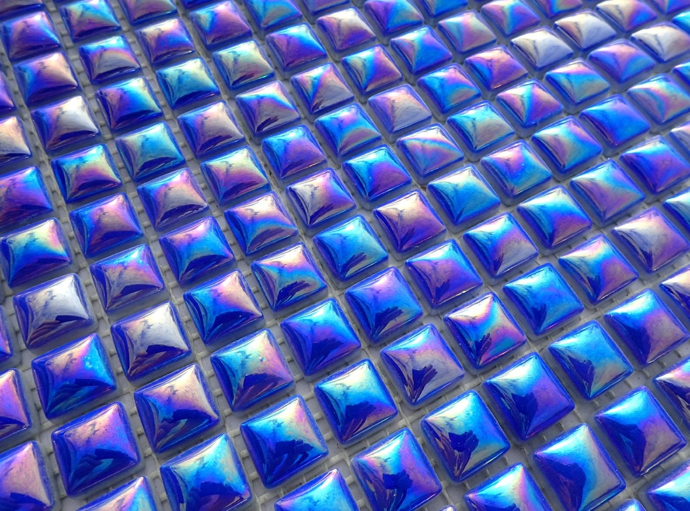 Blue Iridescent Glass Tiles - 5/8 - Domed Top 25 Mosaic Tiles