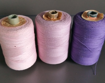 Soviet vintage cotton threads Sewing threads spools USSR Retro sewing supplies, Purple, Pink, Lilac