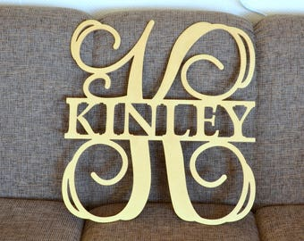 Unpainted gold silver Wooden Monogram door hanger, wall hanging Wedding monogram letters for wall decorations 24 inches wide