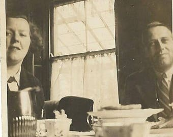 Small Vintage 1930s Black and White Photograph ~ Couple at Breakfast Table