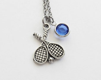 Tennis Necklace, Tennis Racquet, Tennis Player Gift, Sports Jewelry, Couples Jewelry, Silver Jewelry Swarovski Channel Birthstone Crystal