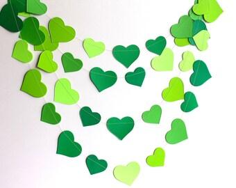 Green garland, green hearts paper garland, green spring garland, hearts banner, nursery decor, bridal shower decor