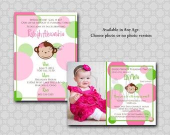 Monkey Birthday Invitation - Girl - Mod Monkey Modern Photo printable 5x7 invite invitations. pink green polka dot