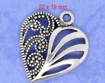 3 pendants openwork heart 2.2 x 1.9 cm antique silver