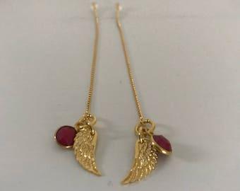 Threader earrings, 24 k gold vermeil earrings, red earrings, faceted ruby earrings, angel wing earrings.