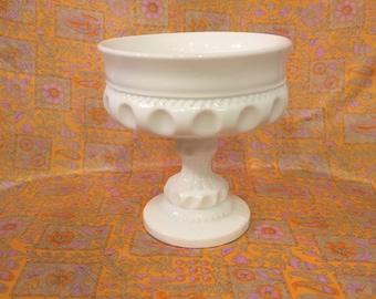 Vintage white milk glass compote