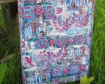Mixed Media Canvas. Alphabet canvas. Pink teal canvas. Wall decor. Free USA shipping.