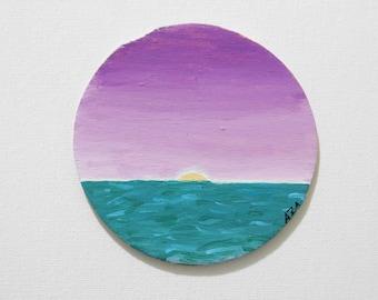 ORIGINAL Ocean Acrylic Painting - Wooden Canvas - Free Shipping- coaster
