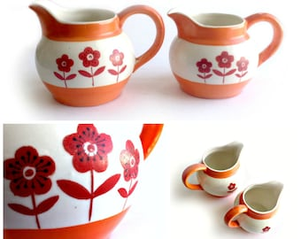 Two Made in Japan Orange Flower Creamers, Hand Painted Orange Flower Japan Small Pitcher Set, Bright Orange Flower Creamer Pitchers