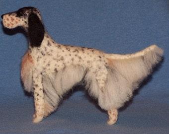 English Setter needle felted dog example custom made to order