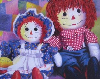 Raggedy Ann Art Print, nursery wall art raggedy ann wall decor childrens room wall art, Vickie Wade art