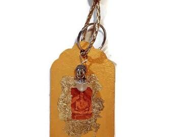 Buddha natural wood gold keychain with Buddha and mountain crystal bead handpainted giftidea friends spiritual home decor car decor gift.