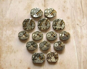 14 pcs Assorted Watch Movements, Small Watch Movements, Steampunk Supplies, Watch Movements for Parts, Antique Watch Parts