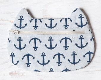 Nautical Cosmetic Bag, Anchor Bag, Cat Makeup Bag, White Makeup Pouch, Cat Lover Gift, Nautical Makeup Bag, Beach Bag Pouch, Nautical Pouch