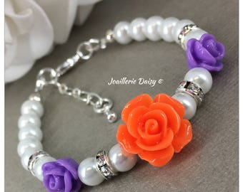 Flower Girl Gift for Flower Girl Bracelet Purple and Orange Flower Girl Jewelry  Pearl Bracelet Jewelry Charm Bracelet Wedding Jewelry