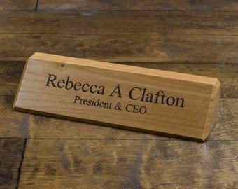 Personalized Wooden Desk Name Wedge - Custom Engraved Wood Desk Name Plate - Executive Desk Nameplate - Solid Wood Desk Wedge - Alder Sign