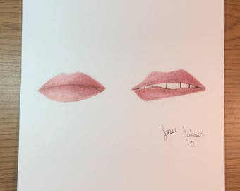 Original Colored Pencil Lips Drawing with prismacolor pencils // fashion // beauty // makeup // gift // drawing // picture // gifts for her