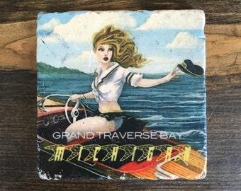 Vintage Grand Traverse Bay Michigan Coaster Tile with cork backing