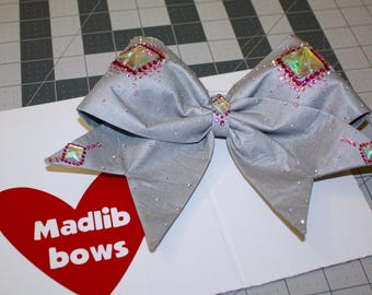 Silver Fabric Cheer Bow with Swarovski Crystals