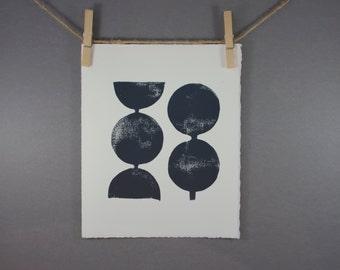 Modern Decor Geometric Circles in Midnight Blue Linocut Art Print 8 x 10 Polka dot