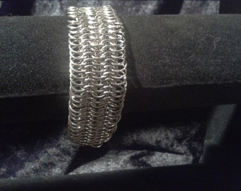 Cuff bracelet.   European 8 in 1 chainmaille. Toggle clasp. Gift boxed Stainless Steel