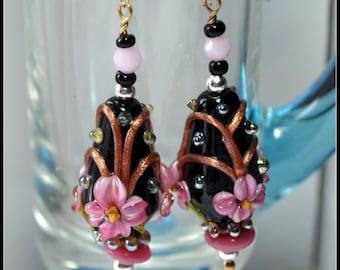 Pink,Black and Bronze Earrings,Lampwork Earrings,Beadwork, Dangle Earrings,Floral Earrings - PIPER