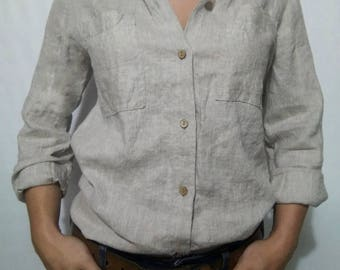 Classic women's linen shirt with buttons pockets,grey linen shirt with a collar elegant blouse,natural Blouse for heat,casual Linen clothes