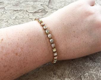 Aurora Borealis Bracelet, Gold Rhinestone Bracelet, Vintage Bracelet Aurora Borealis Rhinestone Jewelry, Statement Bracelet, Bridal Bracelet