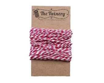 Red and White Bakers Twine - Maraschino Twist - 15 Yard Bundle