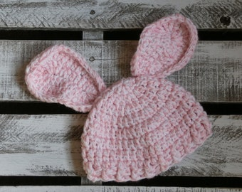 Crochet pink/whtie bunny hat/ 0-3 months/ Ready to ship