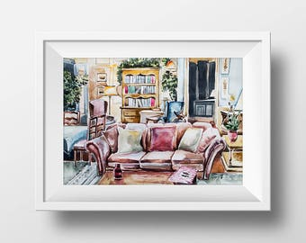 Wall Art Alf Living Room Watercolor Print,Alf Tv Show,Alf Poster,Retro Tv Show,90s TV show,Room Decor,Fan Gift,Digital Print,Printable