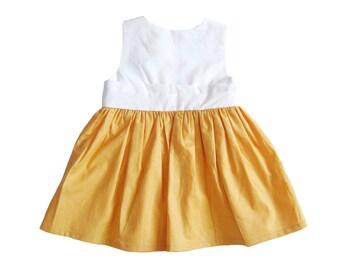 Lilium Baby Dress - Yellow and White baby dress, Baby Girl Dresses, Flower Girl Dresses, Yellow Baby Dress, 3-6 M, 6-12 M, 12-18 M, 2T, 3T