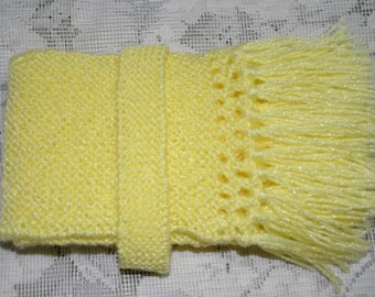 Handknitted Skinny Scarf Lemon Yellow,Christmas Gift for baby girl,Winter Accessories,Gift under 20, Gift for her,Handknitted, Woollen Scarf