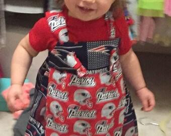 New England Patriots dress, toddler dress, baby dress, patriots dress, New England dress, football dress, girls dress, knot dress