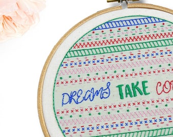 Embroidery Pattern Modern Sampler. Embroidery Designs. Embroidery DIY Hoop Art. Hand Embroidery Pattern Dreams. Easy Beginner Embroidery Kit