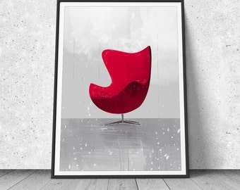 Egg Chair, Arne Jakobsen, Mid Century Design, Giclee, Art Print, Furniture Poster, Illustration