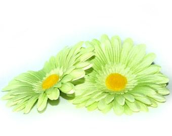 2 Light Green Daisies - Arificial Flowers, Silk flowers