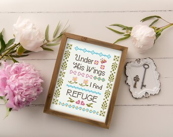 Under His Wings Cross Stitch Pattern from Psalm 91 - Country Colorful Sampler Cross Stitch Pattern - Instant Download PDF -