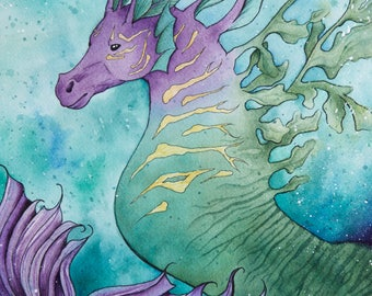 RETIRING (Last Chance) Mythology Series: Hippocampus, Sea Horse, Hippocampus Watercolor, Watercolor, Painting, Watercolor and Ink, Mythology