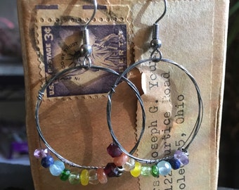 Over the Rainbow - Strung-Out ukulele string hoop earrings