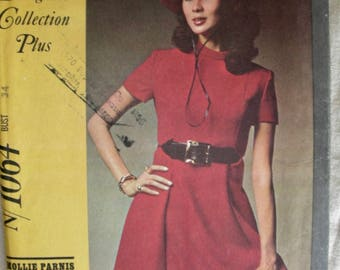 UNCUT * McCall's New York Designer's Collection Pattern 1064 *  Designer: Mollie Parnis / Mod Mini  Dress / Size 12 * Bust 34