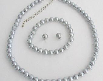 Silber Grau Perle Halskette Ohrringe Hochzeit Lite grau Perlenschmuck Brautjungfer Hochzeit Halskette Ohrringe Armband Set kostenloser Versand In USA
