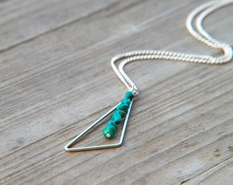 Turquoise necklace, Long silver necklace, December birthstone, Geometric necklace, Pendant necklace, Triangle necklace, Geometric jewelry