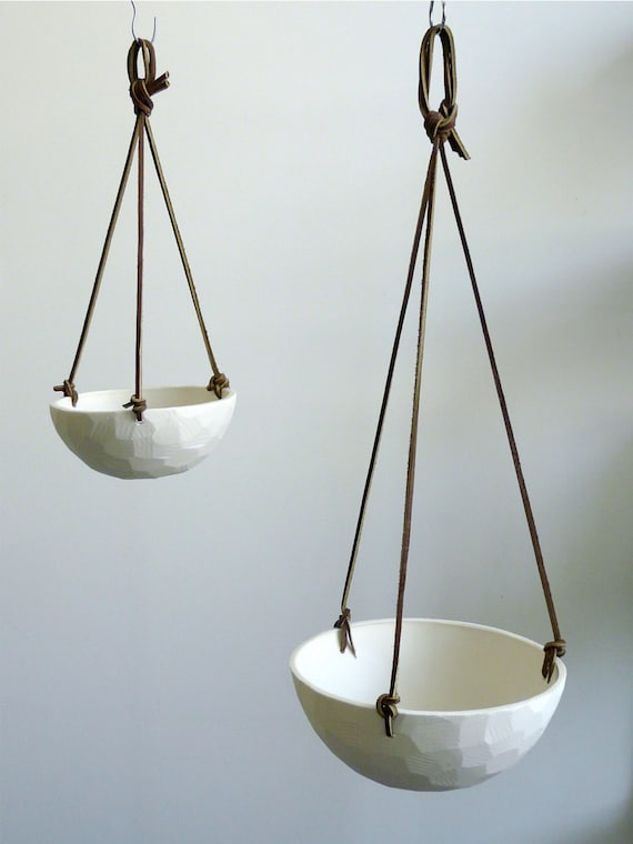 Hanging Porcelain Planter with Leather Cord Size Small