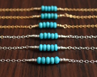 Real Turquoise Bridesmaid Bracelets, Genuine Blue Gemstone Row, Sterling Silver or Gold Filled, Simple Wedding Jewelry, Free Shipping
